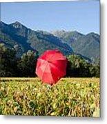 Red Umbrella On The Field Metal Print