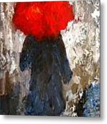 Red Umbrella Under The Rain Metal Print
