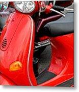 Red Vespa Vintage Scooter Motorcycle Metal Print