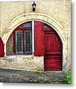 Red Windows And Door Provence France Metal Print