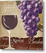 Red Wine Collage Metal Print