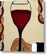 Red Wine Glass Metal Print by Cynthia Amaral