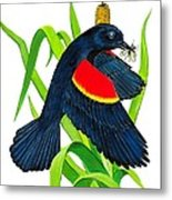 Red Wing Blackbird Dinner Metal Print