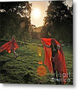 Red Witches Dance Metal Print