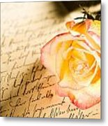 Red Yellow Rose Over A Hand Written Letter Metal Print