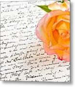 Red Yellow Rose Over A Hand Written Love Letter Metal Print