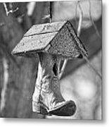 Redneck Cowboy Boot Birdhouse Bw Metal Print