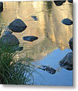 Reflecting Peaks In The Merced River Metal Print