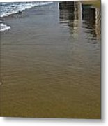 Reflection In The Sand Metal Print