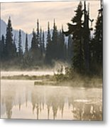 Reflection Lake With Mist, Mount Metal Print