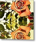 Reflection Of A Warm Rose Metal Print