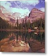Reflection Of Cabins And Mountains In Metal Print