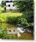 Reflection Of The Barn Metal Print