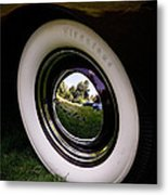 Reflections In A Hubcap Metal Print