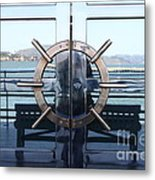 Reflections Of Alcatraz Island At The Maritime Museum In San Francisco California . 7d14080 Metal Print by Wingsdomain Art and Photography