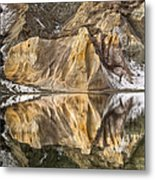 Reflections Of Clay Cliffs In Blue Lake Metal Print