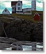 Reflections Of Nubble Lighthouse Metal Print by Scott Moore