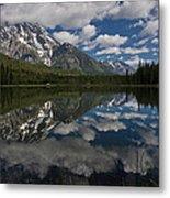Reflections On Mount Moran Metal Print