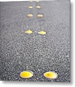 Reflective Roadway Divider Bumps Metal Print by Thom Gourley/Flatbread Images, LLC