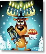 Reindeer With Menorah For Antlers Metal Print by New Vision Technologies Inc