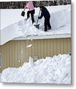 Removing Snow From A Building Metal Print