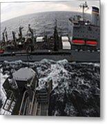 Replenishment At Sea Between Usns Metal Print