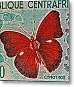 Republique Centrafricaine Butterfly Stamp Metal Print
