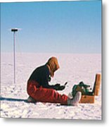Researcher Measures The Flow Rate Of A Glacier Metal Print