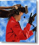 Researcher Wearing Virtual Reality Headset Metal Print