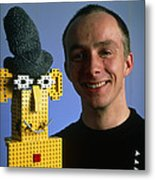Researcher With His Happy Emotional Lego Robot Metal Print