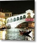 Rialto Bridge Night Scene Metal Print