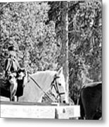Riding Soldiers B And W IIi Metal Print