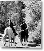 Riding Soldiers B And W Metal Print