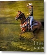 Riding Thru The Meadow Metal Print by Susan Candelario
