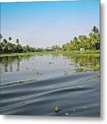 Ripples On The Water Of The Saltwater Lagoon In Alleppey In Kerala In India Metal Print