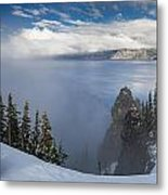 Rising Mists From Crater Lake Panorama Metal Print