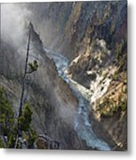 Rising Mists From Grand Canyon Of The Yellowstone Metal Print