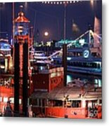 Rising Moon Over Lightship Metal Print