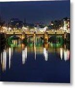 River Liffey At Night, Oconnell Street Metal Print