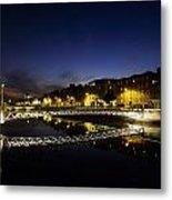 River Liffey, Millenium Footbridge At Metal Print by The Irish Image Collection