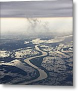 River Running Through A Flooded Countryside Metal Print by Jeremy Woodhouse