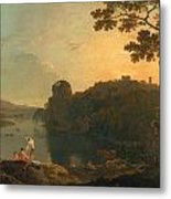 River Scene- Bathers And Cattle Metal Print