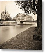 River Seine And Cathedral Notre Dame Metal Print