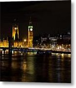 River Thames And Westminster Night View Metal Print