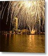 River Thames Fireworks Metal Print