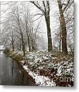 River With Snow Metal Print