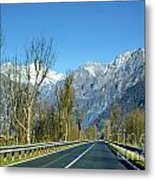 Road And Snow-capped Mountain Metal Print