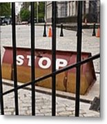 Road Blocker At New York City Hall. Metal Print