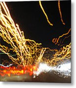 Road Cars And Street Lights Metal Print