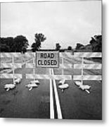 Road Closed And Highway Barrier Due To Flooding Iowa Usa United States Of America Metal Print by Joe Fox